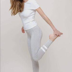 Ivory Ella gray high-rise white striped leggings